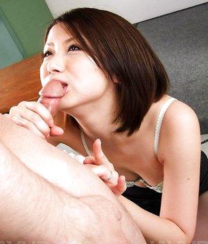 Kaoru Natsuki Asian loves sucking balls and stroking phallus