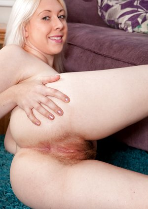 Alison Colins beautiful hairy pussy on couch