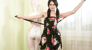 Gerda May strips naked beside her sculpture